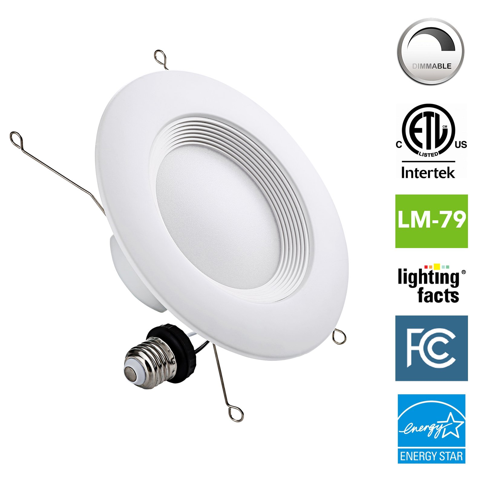 NASUN 5/6 Inch Dimmable LED Downlight, ENERGY STAR, ETL, FCC, 12W, CRI90+, Recessed Retrofit Downlight Lighting Fixture - (Pack of 1), 5 Year Warranty