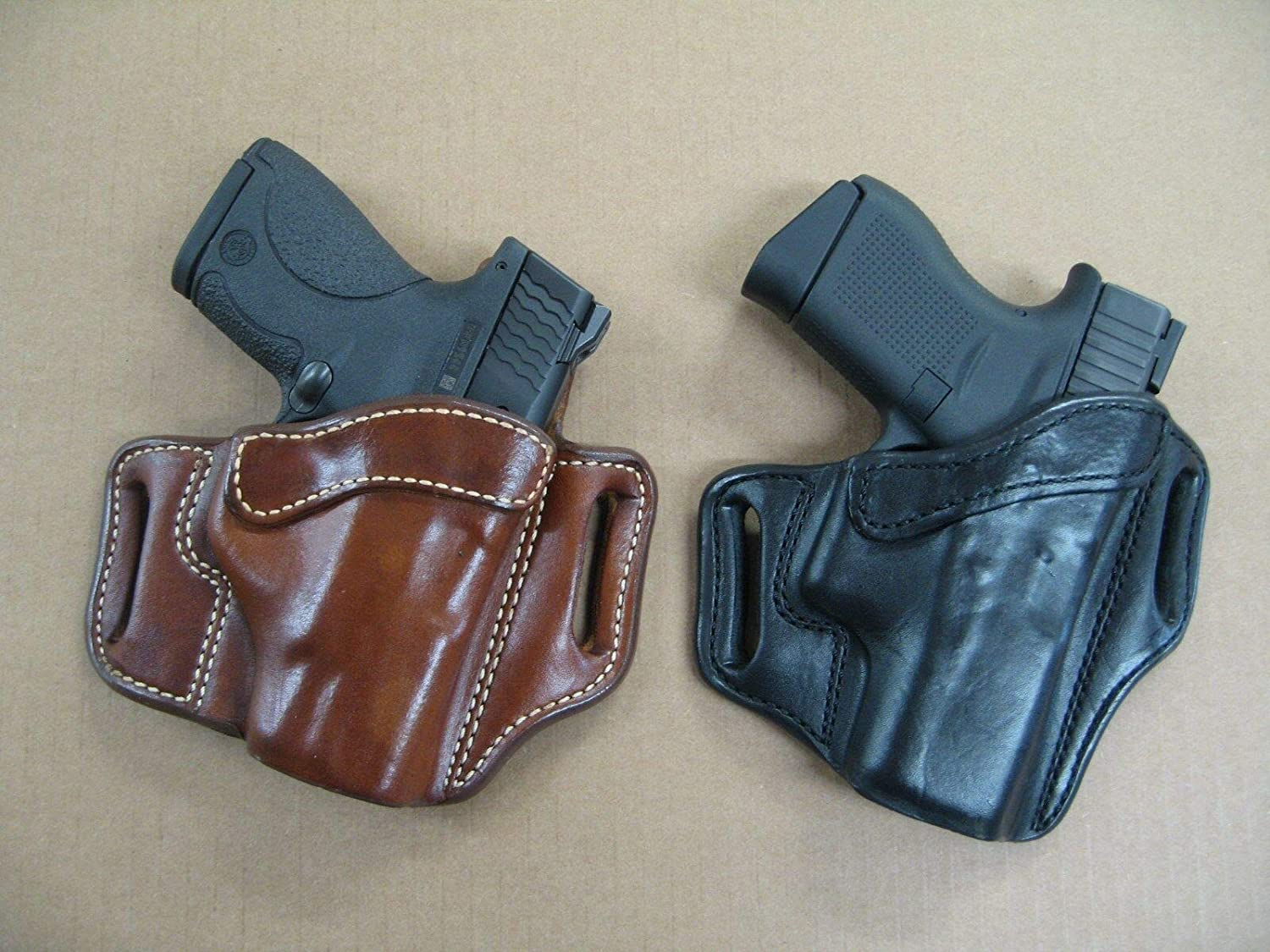 Azula OWB Leather 2 Slot Molded Pancake Belt Holster for Beretta 92, 92FS,  96, M9 CCW TAN RH