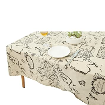 Table Cloth Map, YUUVE Table Cloths Map Printed Rectangular Tablecloths  Multi Function Dining