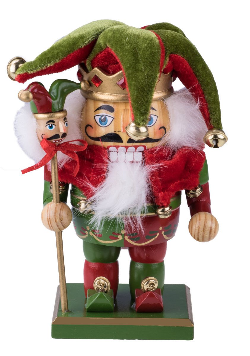 Clever Creations Chubby Jester Nutcracker Decoration Figure With Hat, Bells, Scepter - 7.25