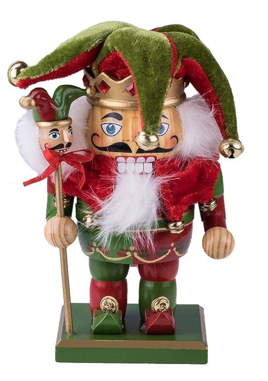 Clever Creations - Cascanueces rechoncho Tradicional de Navidad - Combinable con Cualquier Estilo - 100% Madera - Bufón con Traje Rojo y Verde y ...