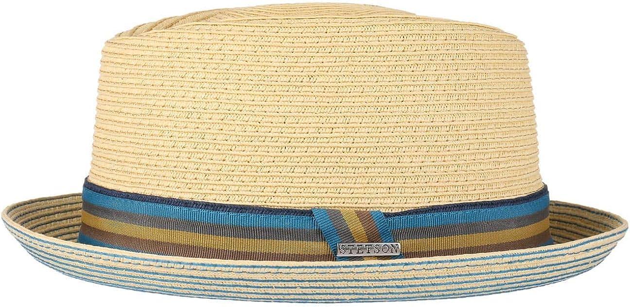 Stetson Sombrero Contrast Stitch Diamond Mujer/Hombre - de Playa Sol Fedora con Banda Grosgrain Primavera/Verano