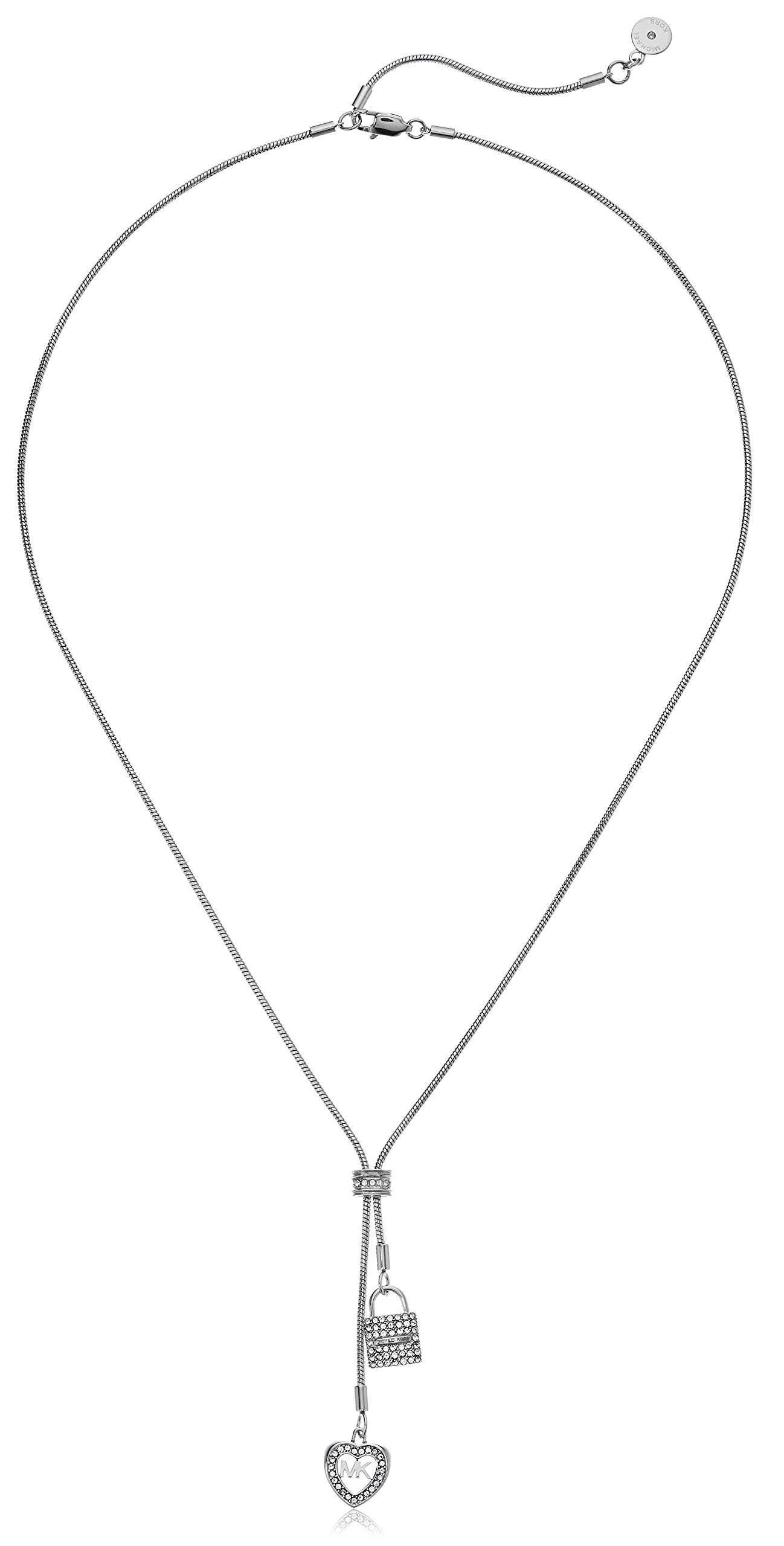 Michael Kors Womens Silver-Tone Charm Y Shaped Necklace, One Size