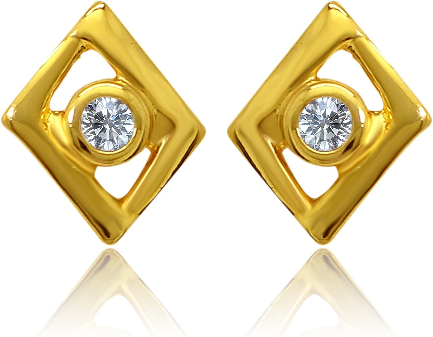 Indian Decor & Attire Exa Collection CZ White Kite Square Gold Plated Stud Earrings for Women ER6012010GWhi