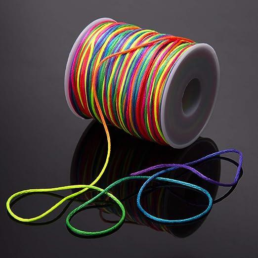 Colore dellarcobaleno, 200 m AIEX Corda Elasticizzata 1mm per Cordoncino per Gioielli Creazione di bracciali e Artigianato