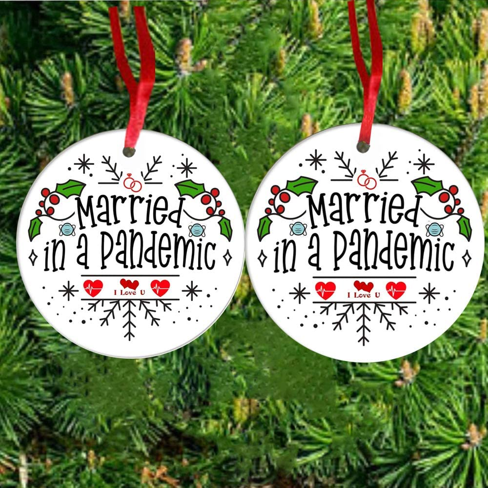 ANLEMIN 2PCS Valentine's Day Ornaments 2020 Wedding Decoration Gifts Married in a Pandemic Handmade Commemorative Plate Wedding Decor for a Newlyweds Christmas -Double Side