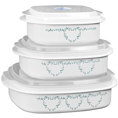 Corelle Coordinates by Reston Lloyd 6-Piece Microwave Cookware, Steamer and Storage Set, Country Cottage