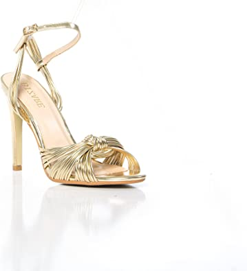 HOT Womens Peep Toe Slingback Sandals Gold High Heel Stilettos Party Wedding NEW