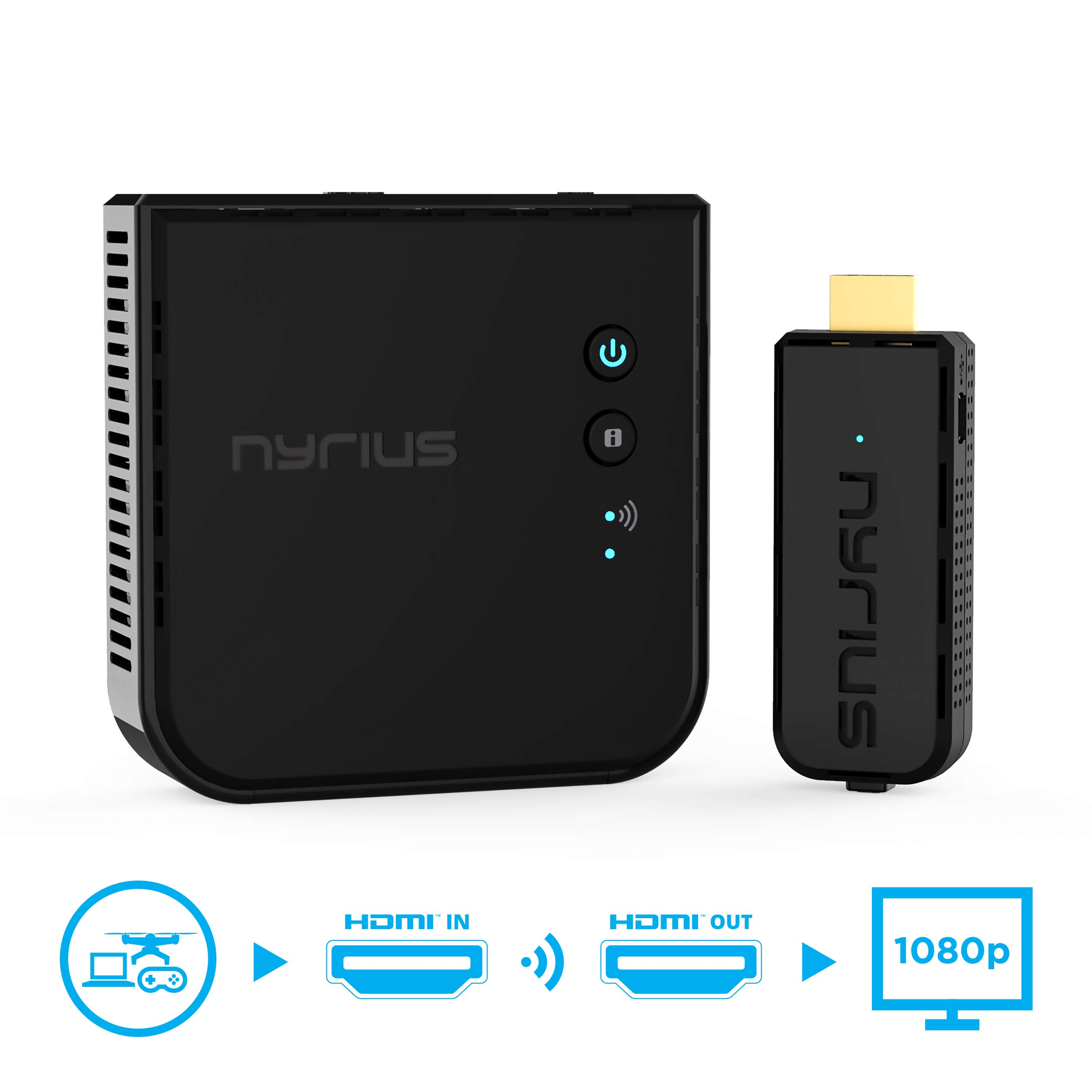 Nyrius Aries Prime Wireless Video HDMI Transmitter & Receiver for Streaming HD 1080p 3D Video & Digital Audio from Laptop, PC, Cable, Netflix, YouTube, PS4, Xbox One to HDTV/Projector (NPCS549) by Nyrius