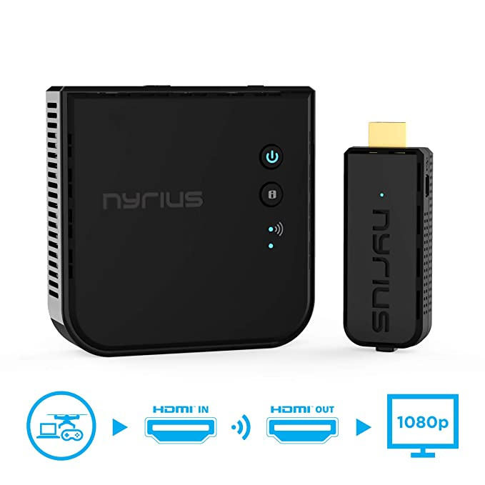 nyrius aries prime wireless video hdmi transmitter \u0026 receiver for streaming hd 1080p 3d video \u0026 digital audio from laptop, pc, cable, netflix,
