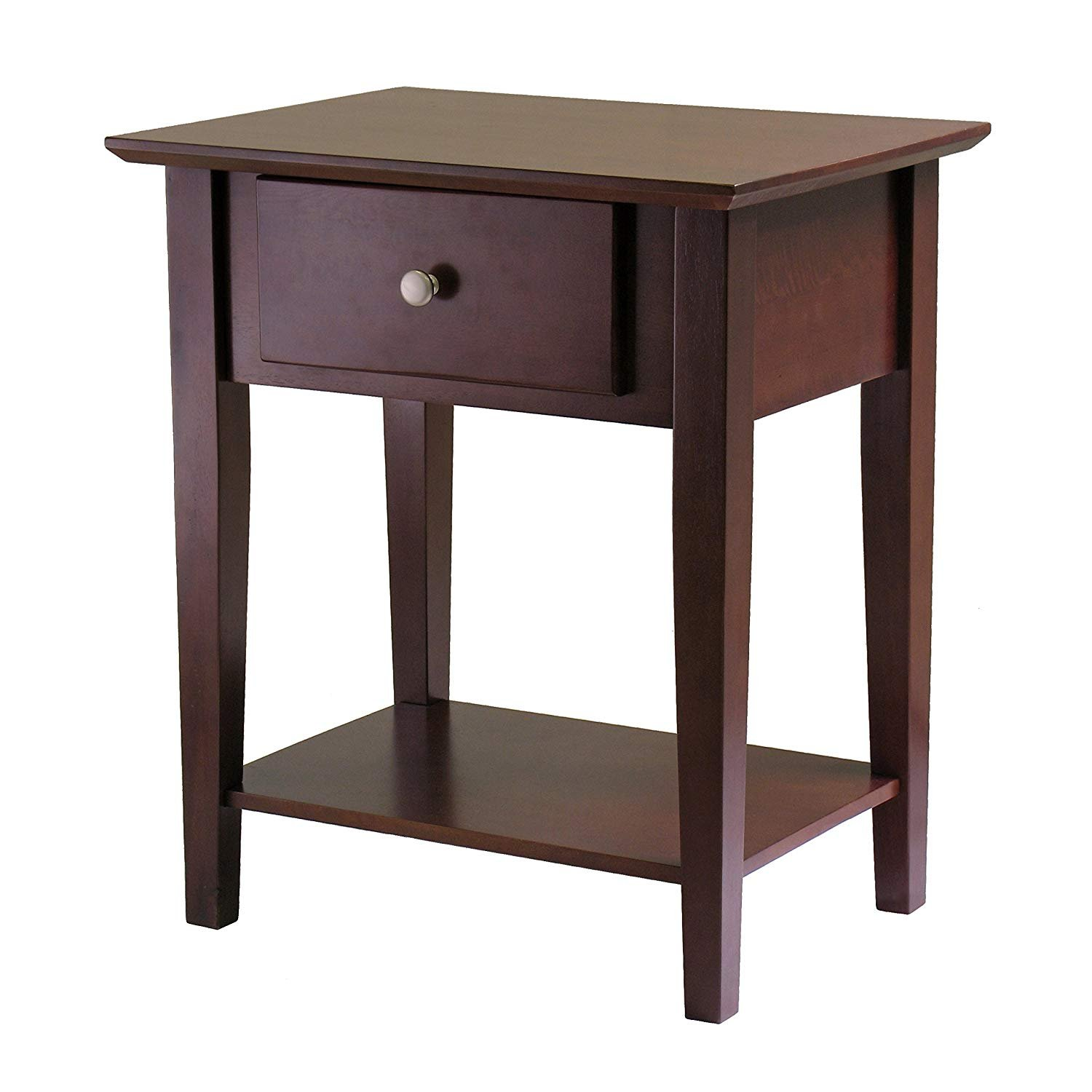 SJ Collection B12600002 Holmes Night Stand with Drawer Espresso, Small, Antique Walnut