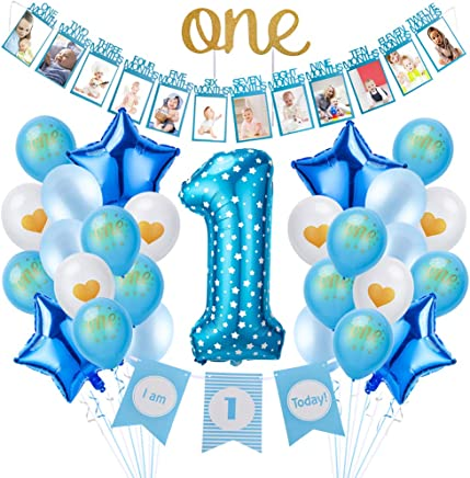 SULOLI 1st Baby Boy Birthday Party Decoration Supplies Include 0-12 Baby Month Banner I Am One Banner Cake Topper Foil 1 Balloons for Boys (Blue)