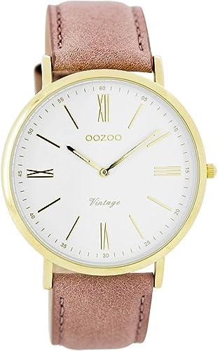 Oozoo Vintage Ultra Slim Leder 40 MM Gold/Weiss/Pinkgrau C7706