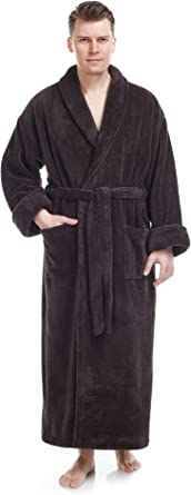 Long Hooded Turkish Bathrobe Arus Mens Fleece Robe
