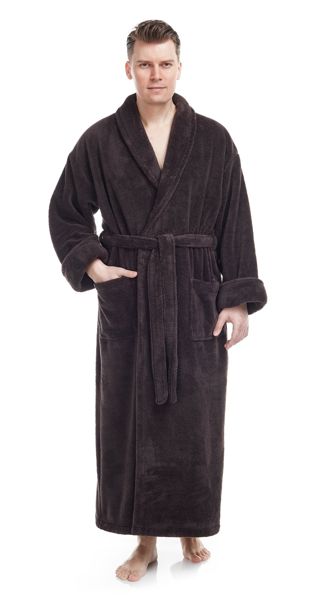 Arus Men's Shawl Collar Full Ankle Length Fleece Robe, Turkish Bathrobe, Charcoal, SM