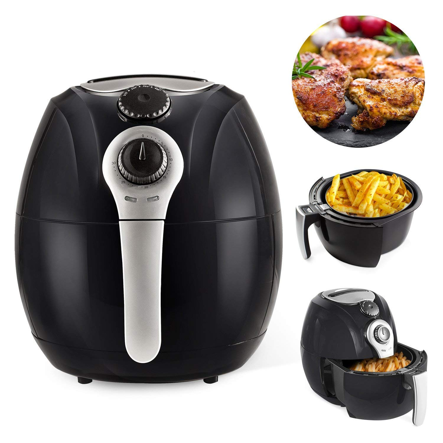 Simple Chef Air Fryer SC2AIRFY – Air Fryer For Healthy Oil Free Cooking – 3.5L Capacity w Dishwasher Safe Parts