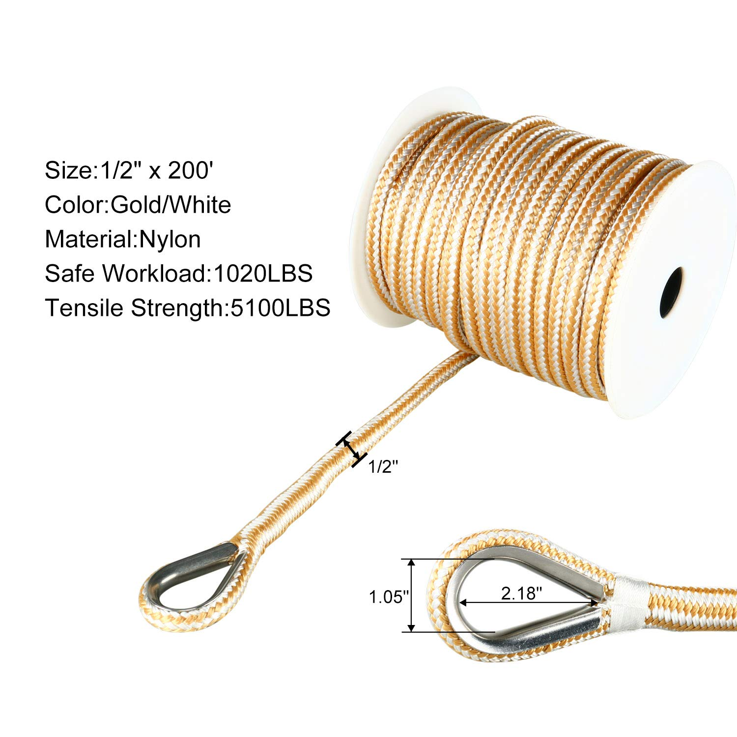 Amarine Made Heavy Duty Double Braid Nylon Anchor Line with Stainless Steel Thimble-White/Gold (1/2'' x 200')