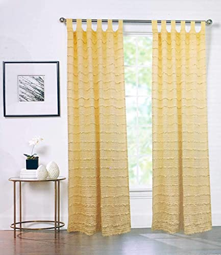 Artisan de Luxe Window Cream Sheer Woven Pattern with Textured Tufts Panels Drapery, 38 Inches by 96 Inches
