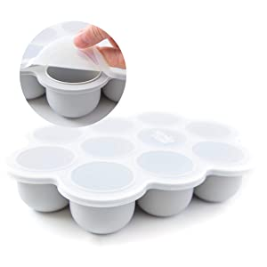 Simka Rose Baby Food Freezer Tray and Storage with Clip On Lid, BPA Free Silicone, 2.5 OZ Portions (Grey, 10 Portion)