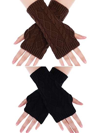 c23be7c98 Boao 2 Pairs Fingerless Gloves Knit Arm Warmers Thumb Hole Mittens Winter  Crochet Half Finger Gloves
