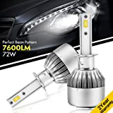 YUMSEEN Super Bright LED Headlight H1 Bulbs Conversion Kit w/ Clear - 72W 6000K 7,200Lm Philips Chip - 2 Yr Warranty (H1)
