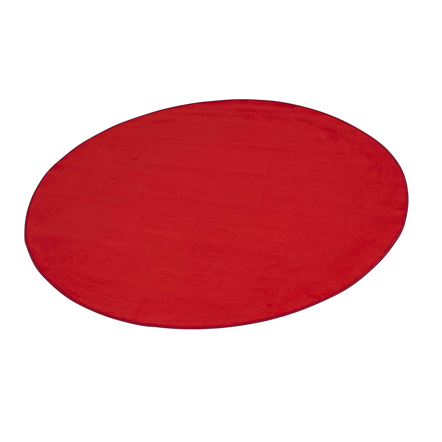 """Learning Carpets Red Solid Rug, 108"""" x 108"""" Round Kids Playroom Rug, Classroom Furniture Educational Carpet for Daycares/Preschools/Homes, Solid Red, Large Round (CPR 478)"""