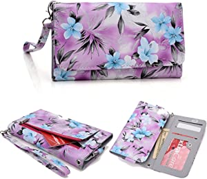 [Floral Print] Women's Wallet Clutch Wristlet Case |Purple Baby Blue Grey| Apple iPhone 6 5S 5C 5 4S 4, Samsung Galaxy S5 S4 S3, Google Nexus 5, LG G2, HTC One M7 [Up to 5.8 x 3.1 Inch Phone]