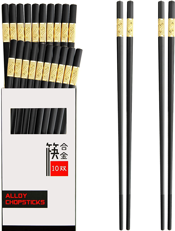 10 Pairs Chopsticks Reusable, 9.5 inch Fiberglass Chopsticks Set Dishwasher Safe, Non-Slip Lightweight Chop Sticks For Japanese Korean Chinese Food & Cooking, Not Moldy, Easy to Use -(Black)