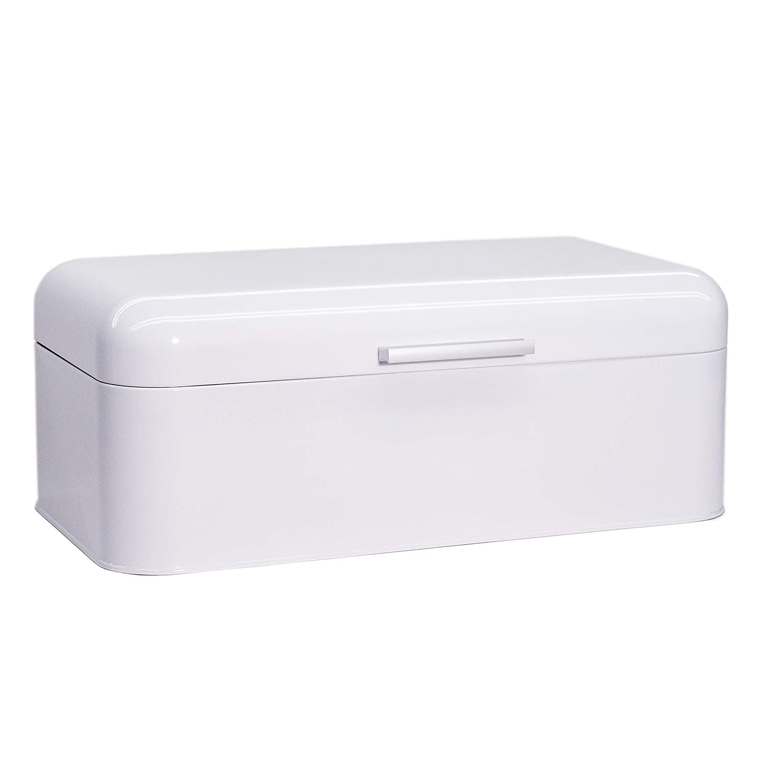 "Large Glossy White Bread Box - Extra Large Storage Container for Loaves, Bagels, Chips & More: 16.5"" x 8.9"" x 6.5"" 