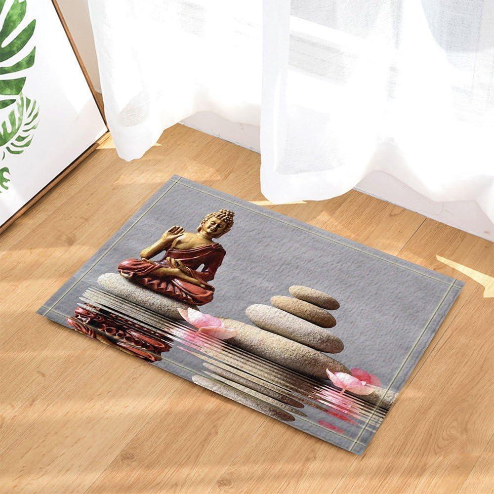 Spa Stone Decor Buda está sentado en el jardín Zen con los alfombra de baño de flor antideslizante Felpudo entrada de suelo alfombra de puerta de entrada de interior alfombra de baño