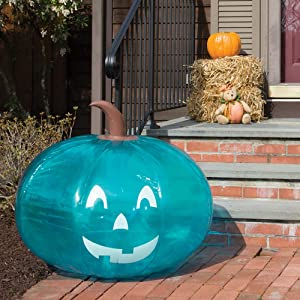 """SCS Direct Teal Pumpkin Giant 35"""" Inflatable for Halloween Decorations - XL Blow Up Indoor / Outdoor Jack O Lantern Decor - Official Teal Pumpkin Project Gear"""