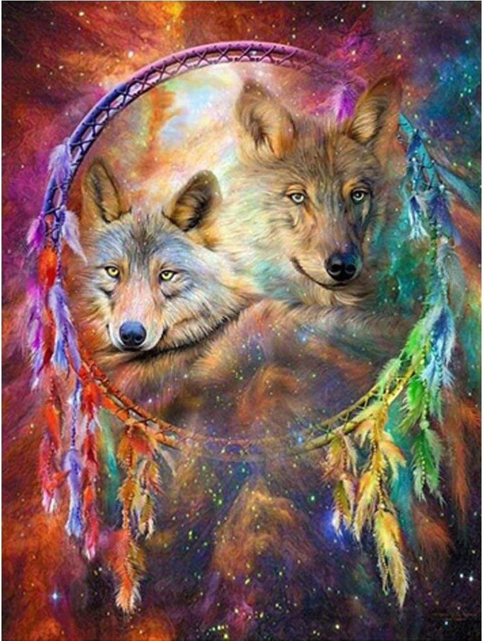 MXJSUA DIY 5D Diamond Painting by number Kits Full drill strass ricamo a punto croce PICTURES Arts Craft for home Wall Decor Dreamcatcher Wolves 30,5/x 40,6/cm