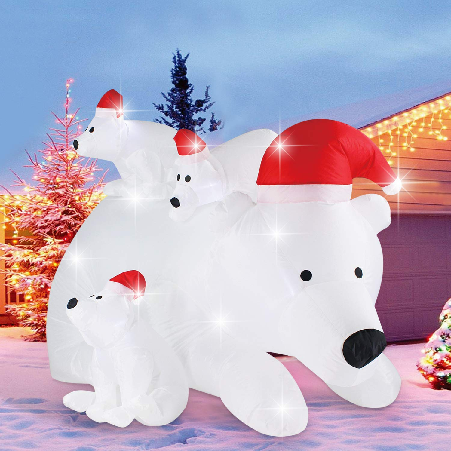Fanshunlite Christmas Inflatable 6 FT Momma Polar Bear 3 Cubs Santa Hat,LED Lighted Blow-Up Yard Party Decoration Xmas Airblown Inflatable Outdoor Indoor Home Garden Family Prop Yard