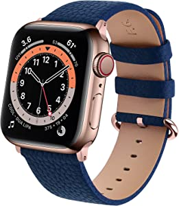 Fullmosa Leather Watch band Compatible for Apple Watch Band 38mm 40mm 42mm 44mm Stainless Steel Rose Gold Buckle Women Men, Replacement Wristbands Strap for iWatch Series 6/SE/5/4/3/2/1, Dark Blue