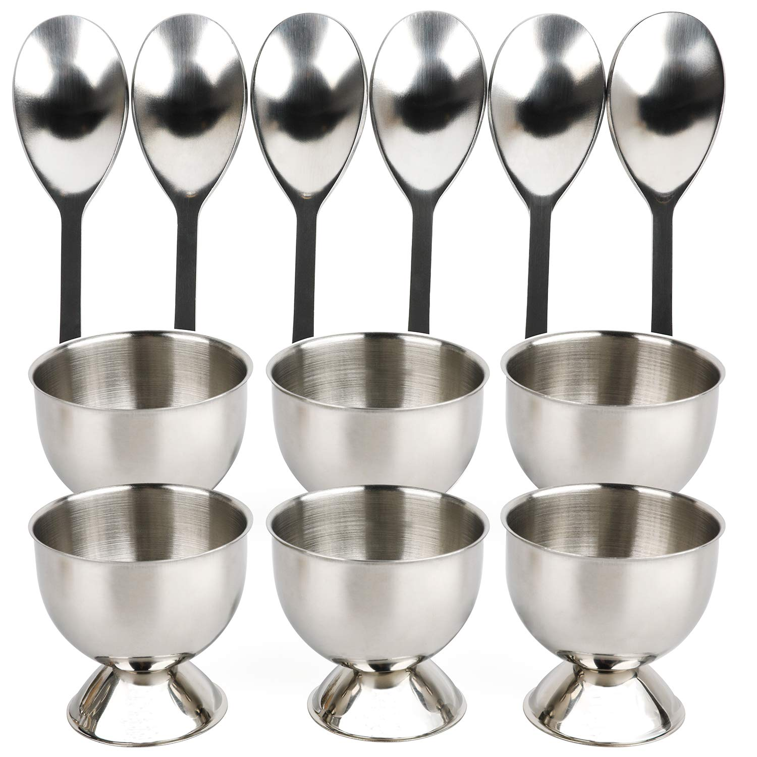 Egg Cups for Soft Boiled Eggs Stainless Steel Set 12 Include 6 Egg Cup Holders and 6 Egg Spoons