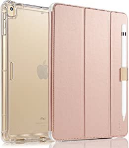 Valkit iPad Pro 12.9 Case 2017/2015 (Old Model,1st & 2nd Gen) - iPad Pro 12.9 Inch Cover Smart Folio Stand Protective Translucent Frosted Back Cases with Auto Wake/Sleep, Rose Gold