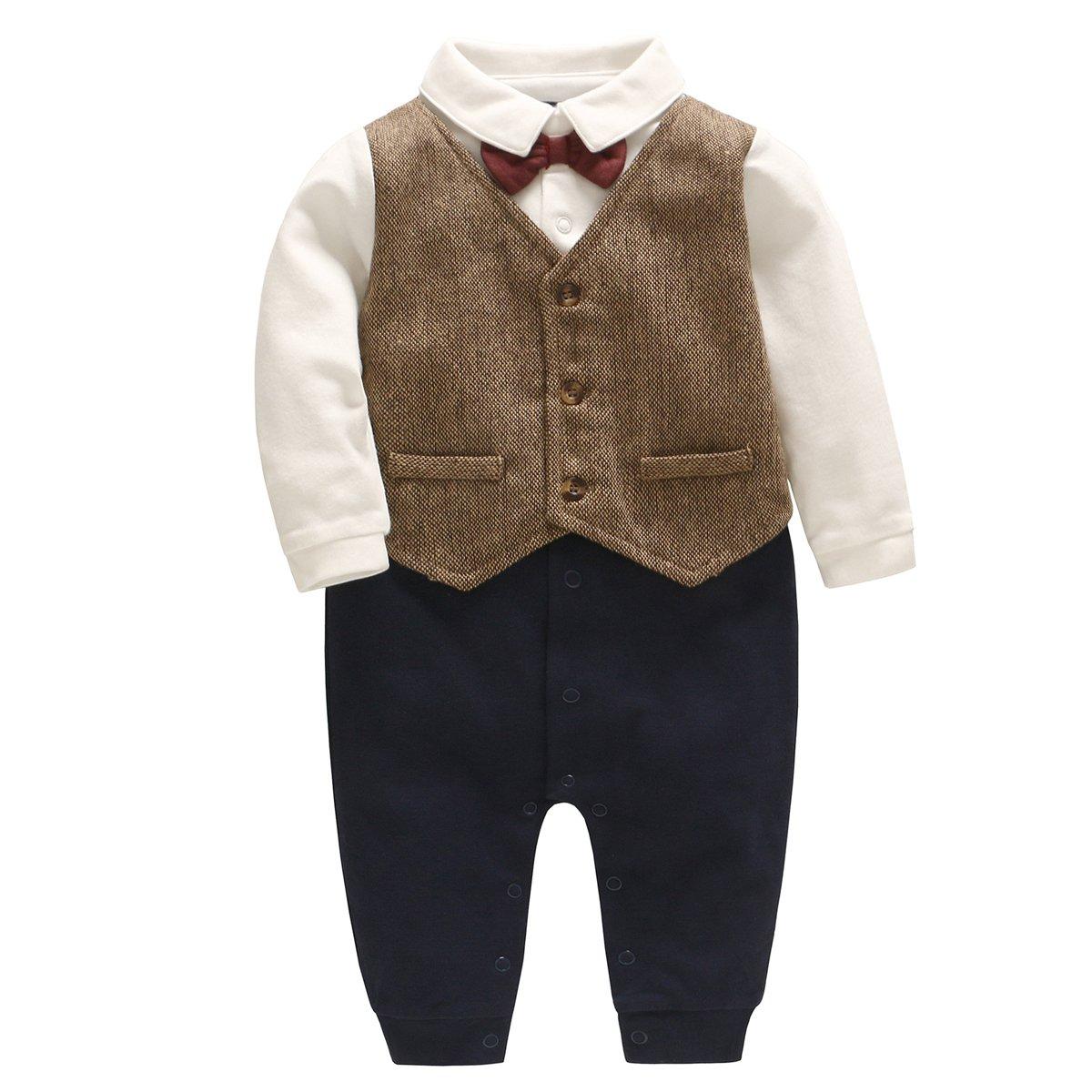Bebone Baby Boys Outfits Clothes Wedding Gentleman Romper Jumpsuit Bodysuit