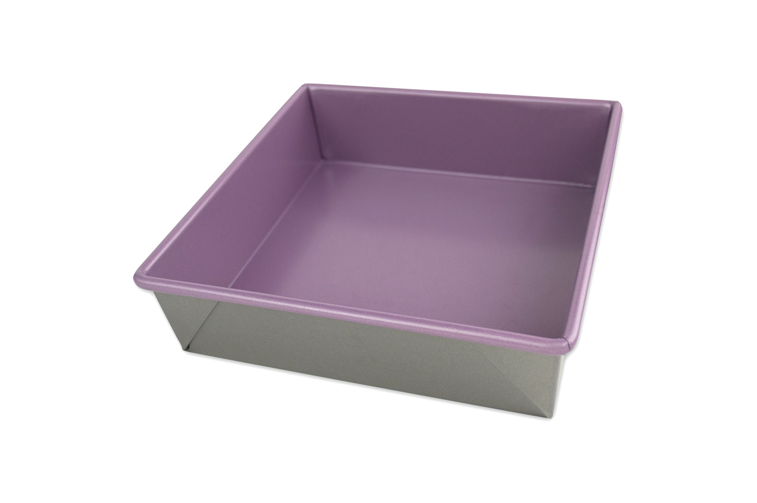 USA Pan 1120BW-AP-1 Allergy Id Nonstick Square Cake Pan, 8-Inch, Purple