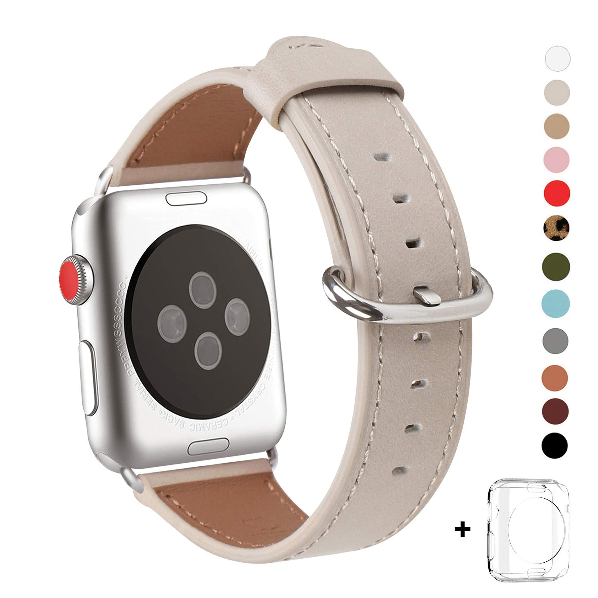WFEAGL Compatible iWatch Band 38mm 42mm, Top Grain Leather Band Replacement Strap with Stainless Steel Clasp for iWatch Series 3,Series 2,Series 1,Sport, Edition(IvoryWhite Band)