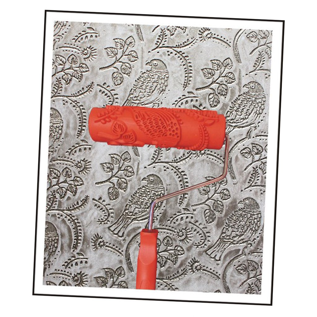 Generic 7 Embossed Painting Roller With Plastic Handle For Wall Decor Eg343t Bird