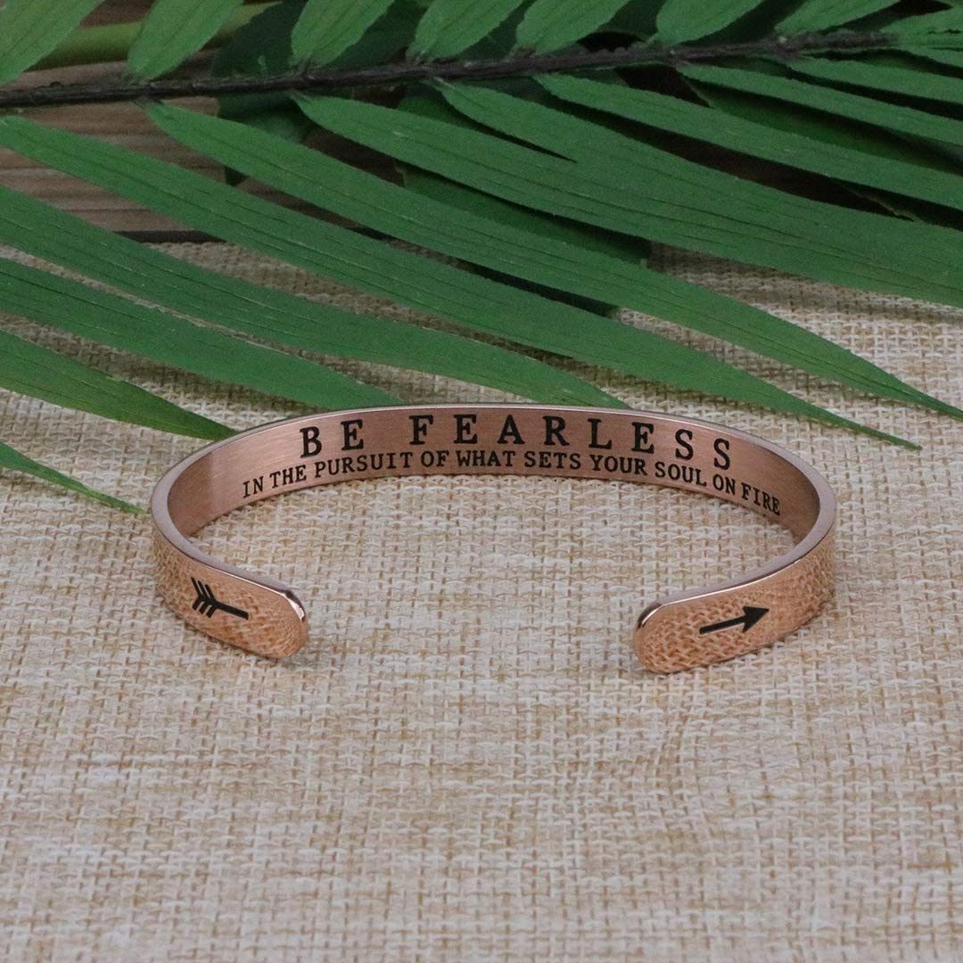 Joycuff Rose Gold Be Fearless in The Pursuit of What Sets Your Soul on Fire Cuff Bracelet Inspirational Jewelry Motivational Gift for Her