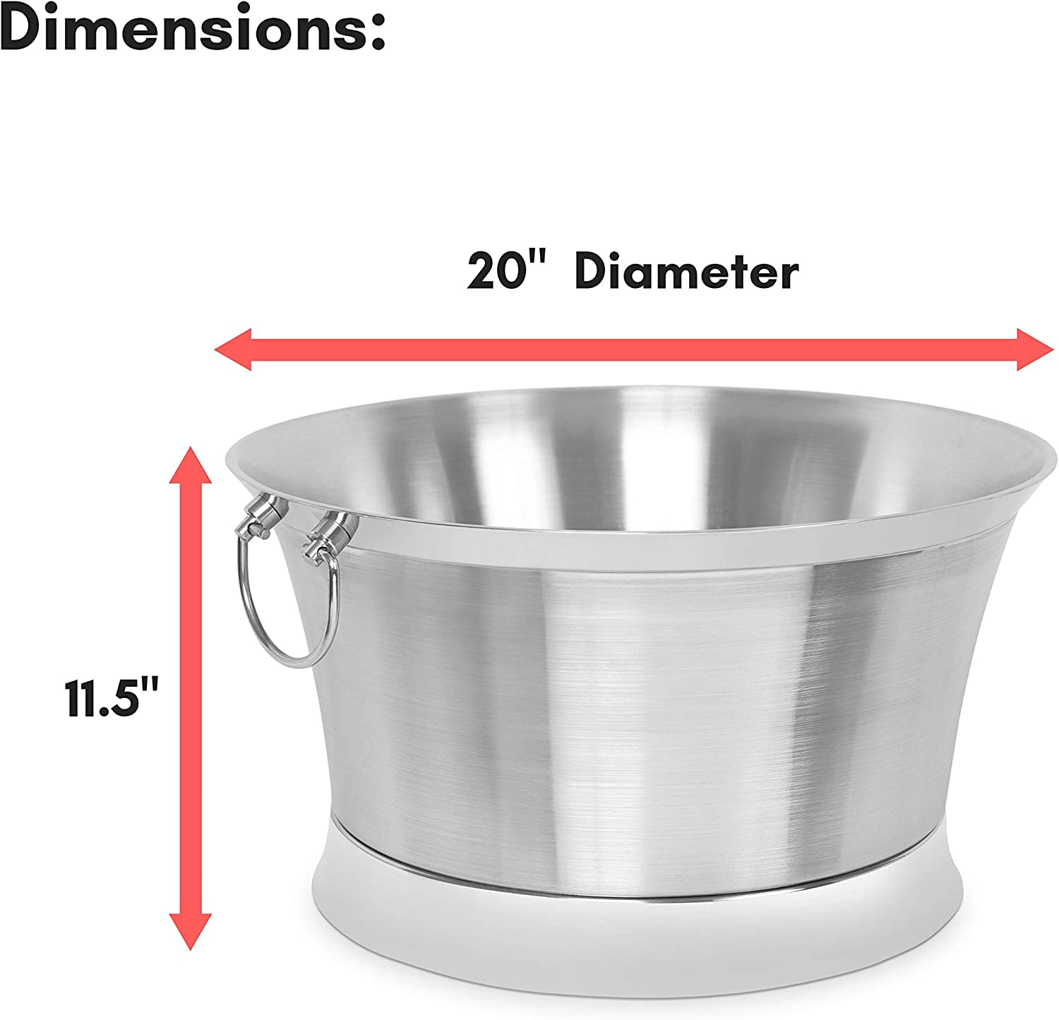 Small Metal Drink Cooler Handles Small Container Ice Bucket House Party Stainless Steel BirdRock Home Double Wall Round Beverage Tub