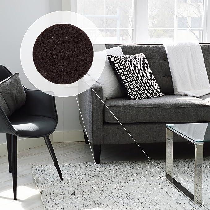 Navaris Almohadillas de fieltro adhesivas para muebles - Set de 215 almohadillas para protección del suelo - Protectores de fieltro marrón oscuro: ...