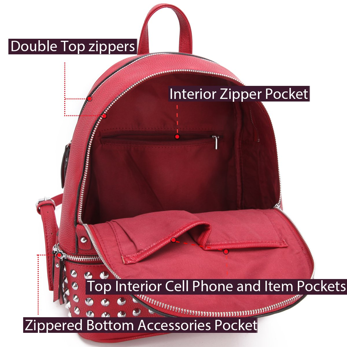 MMK collection Women Fashion Backpack with wallet (2443)~Designer Purse for Women ~Multi Pocket Backpack~ Beautiful Designer Handbag Set(2443/7025) (MA-XL-21-7580-RD 168 RD) by Marco M. Kerry (Image #7)
