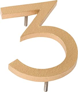 "product image for Montague Metal Products MHN-12-F-GD1-3 Solid Brushed Aluminum Modern Floating Address House Numbers, 12"", Powder Coated Gold"