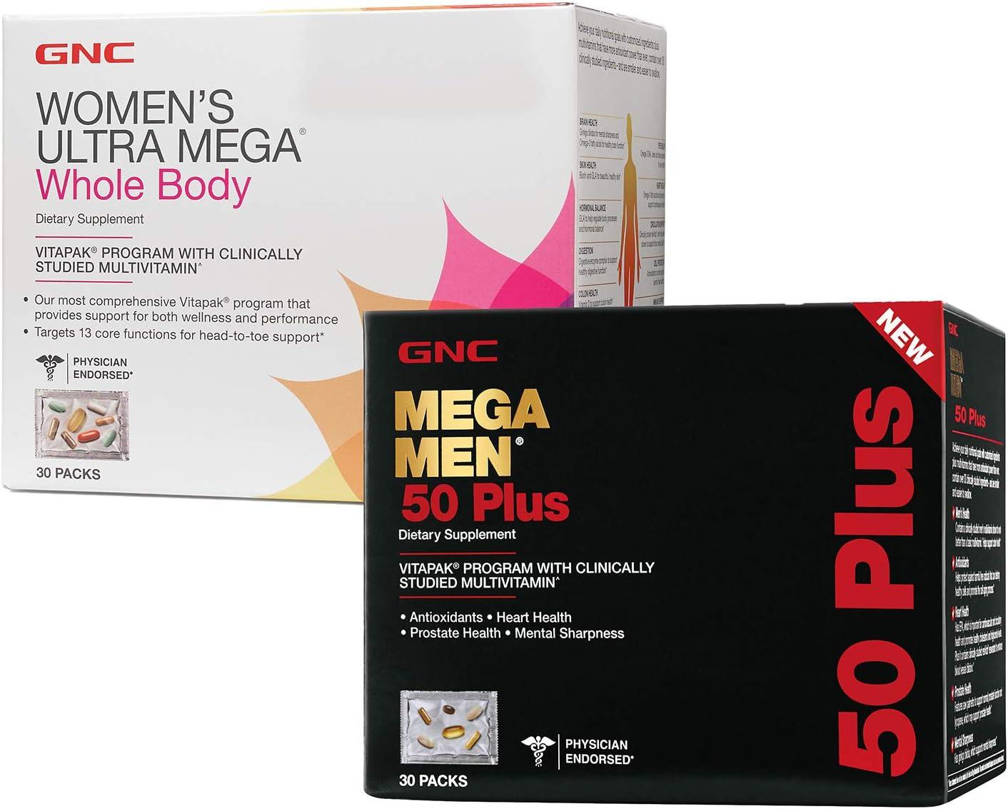 GNC Women's Ultra Mega Whole Body Vitapak Program & GNC Mega Men 50+ Vitapak Program