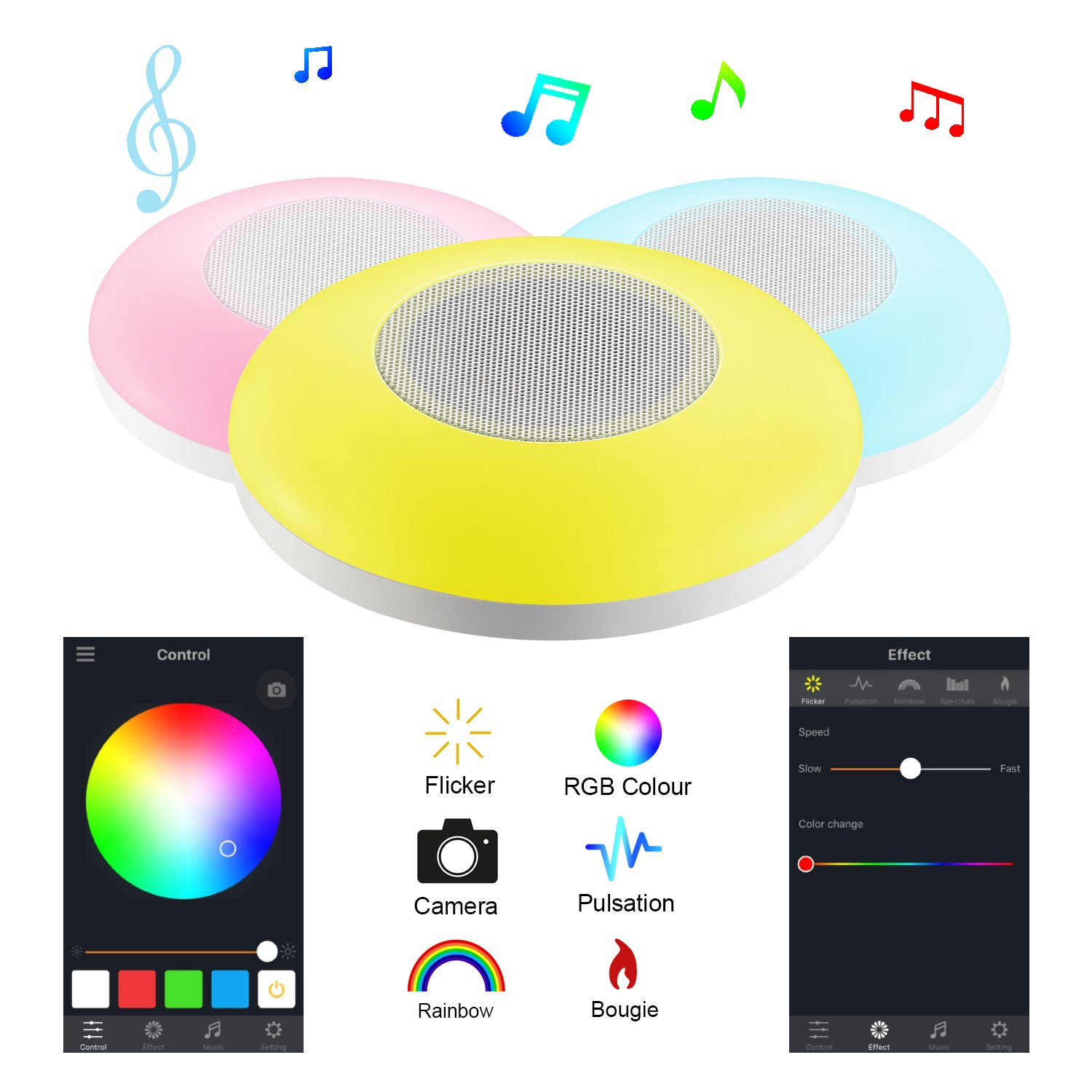 Led Night light Pocket Bluetooth Speaker UFO ,Table Lamp LED Bedside Lamp ,Hi-Fi Remote Controlled by iOS/Android Cell Phone,Perfect for Party, Home Enjoyment,Guests Entertaining, Outdoor Travel