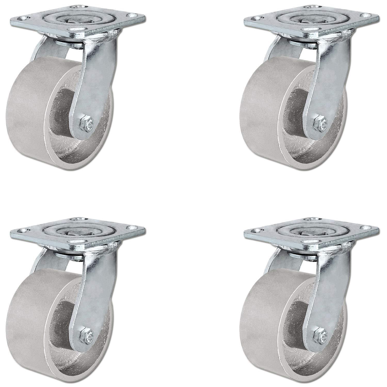 4'' Heavy Duty Semi Steel Cast Iron Swivel Casters - 4,000 lb Capacity Set of 4 - CasterHQ Brand - 4x2 Steel Swivel Caster Heavy Duty 4 Pack - Quality Casters by CasterHQ