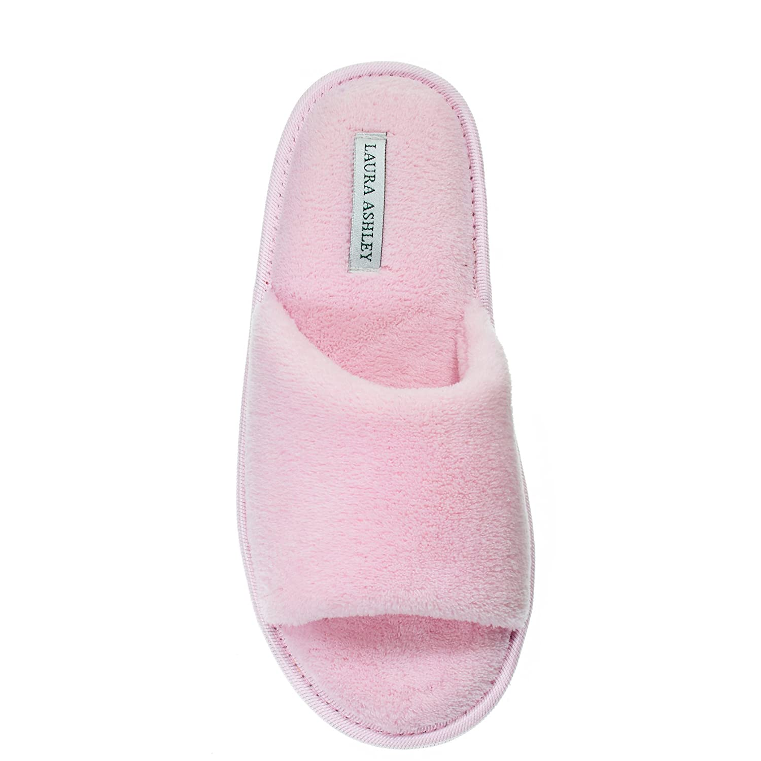 Laura Ashley Womens Ladies Open Toe Plush Terry Slippers See Colors and Sizes