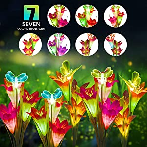DUUDO Solar Garden Stake Lights, Upgraded Solar Powered Flower Lights with 12 Lily Flowers & Butterfly, 7-Color Changing LED Solar Lights Outdoor for Patio, Backyard, Garden (Red & Purple, 4 Packs)